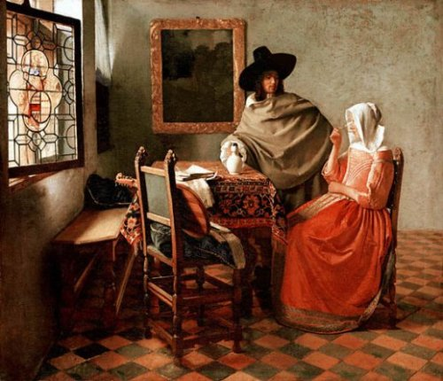 Gentleman and Lady Drinking Wine - Jan Vermeer van Delft