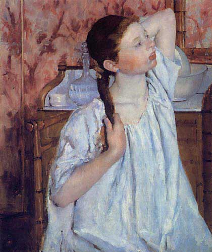 Fille arrangeant ses cheveux - Mary Cassatt
