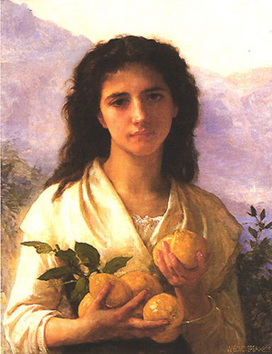 Girl Holding Lemons - William Adolphe Bouguereau