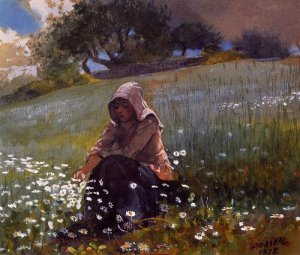 Girl and Daisies - Winslow Homer
