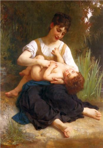 Girl and Infant - William Adolphe Bouguereau