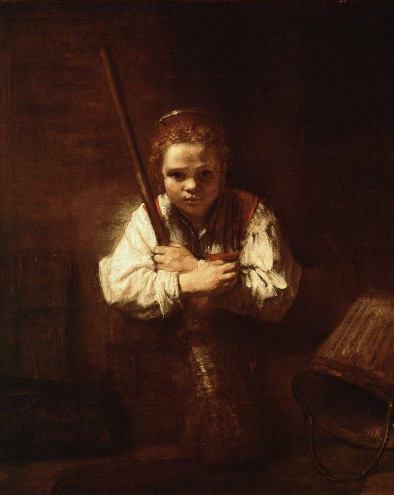 Girl with a Broom - Rembrandt van Rijn