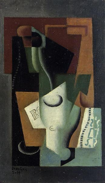 Glass and Bottle - Juan Gris