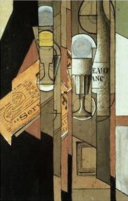 Glasses, Newspaper and a Bottle of Wine - Juan Gris