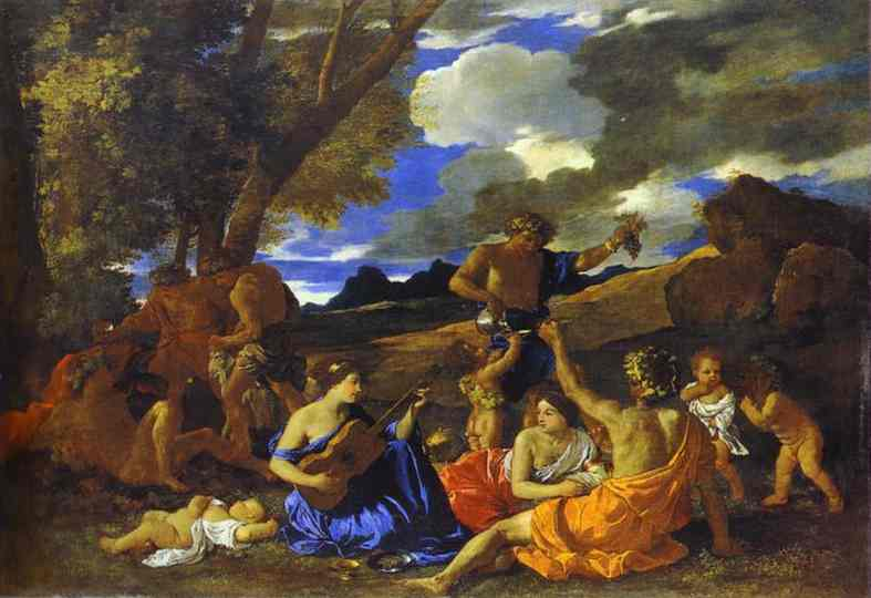 Great Bacchanal with Woman Playing a Lute - Nicolas Poussin