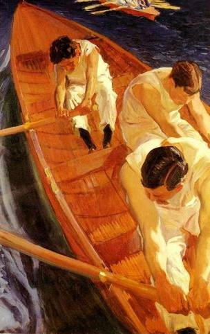 In the Rowing Boat Zarauz - Joaquin Sorolla