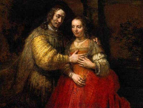 Isaac and Rebecca. (The Jewish Bride) - Rembrandt van Rijn