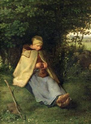 The Knitter (Seated Shepherdess) - Jean Francois Millet