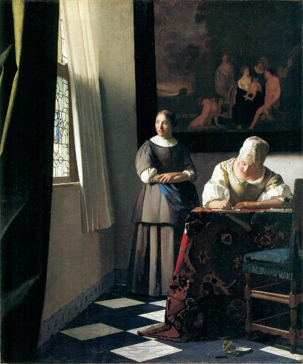 Lady Writing a Letter with Her Maid - Jan Vermeer van Delft