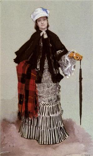 Lady in a Black and White Dress - James Tissot