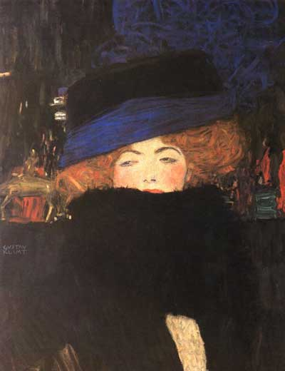Lady with Hat & Feather Boa - Gustav Klimt