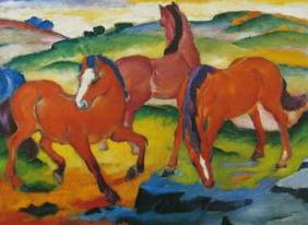 Large Red Horses - Franz Marc