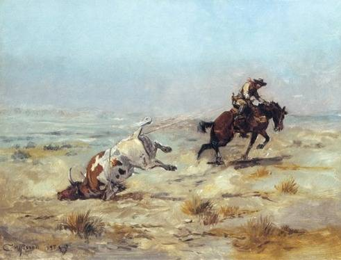 Lassoing a Steer - Charles Marion Russell
