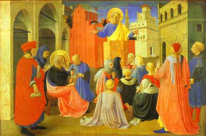 Linaiuoli Tabernacle Peter Preaching with Mark - Fra Angelico