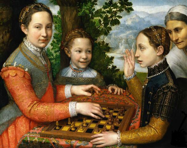 Lucia, Minerva and Europa Anguissola Playing Chess - Sofonisba Anguissola