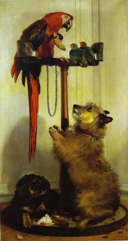 Macaw, Love Birds, Terrier, and Spaniel Puppies, Belonging to Her Majesty - Edwin Henry Landseer