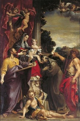 Madonna Enthroned with St Matthew - Annibale Carracci