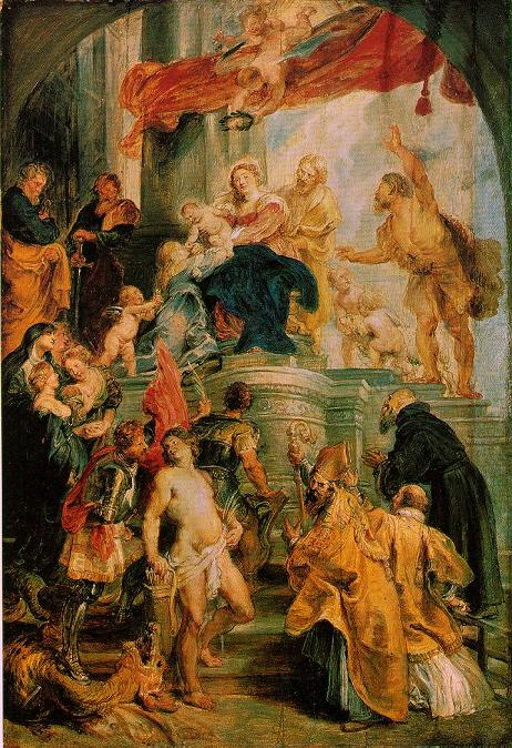 Madonna and Child Enthroned with Saints - Peter Paul Rubens