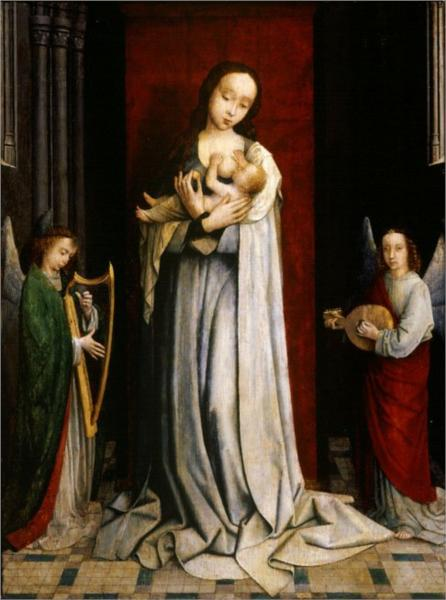 Madonna and Child with Two Angels Music Making - Gerard David