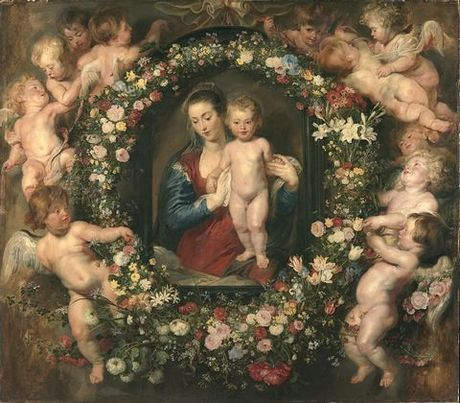 Madonna in a Garland of Flowers with Jan Bruegel - Peter Paul Rubens