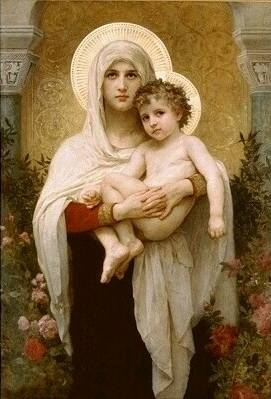 Madonna with Roses - William Adolphe Bouguereau
