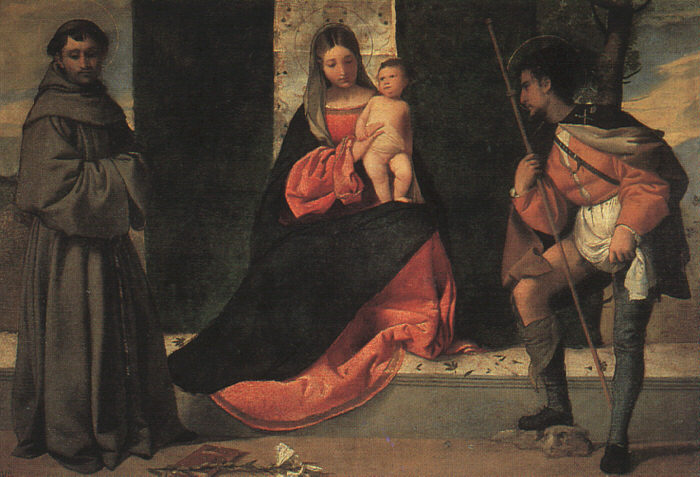 Madonna with the Child, St Anthony of Padua and St. Roch - Giorgione (Giorgio Barbarelli da Castelfranco)