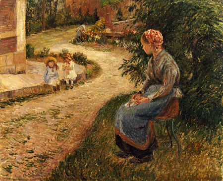 Maid Sitting in the Garden at Eragny - Camille Pissarro