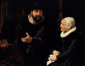 Mennonite Minister Cornelius Claeszoon Anslo in Conversation with His Wife - Rembrandt van Rijn