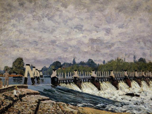 Molesey Weir, Morning - Alfred Sisley