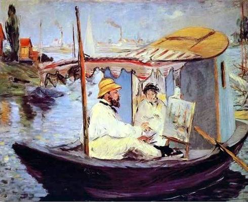 Monet on His Boat - Claude Monet