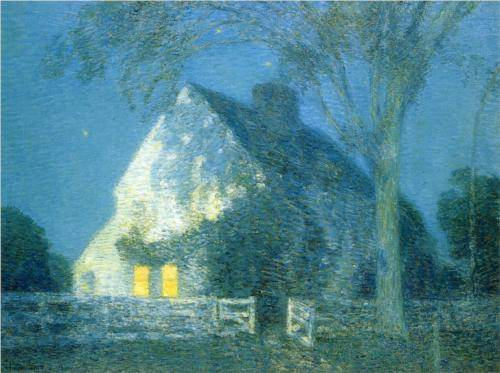 Moonlight Old House - Childe Hassam