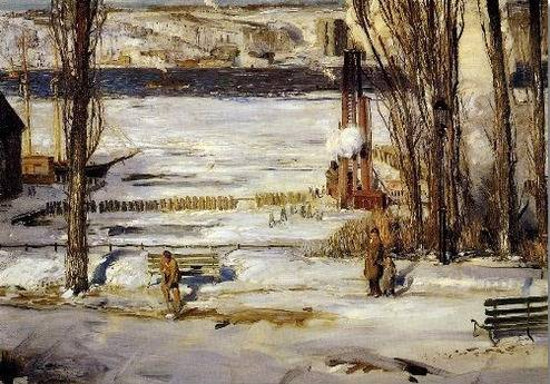 Morning Snow Hudson River - George Bellows