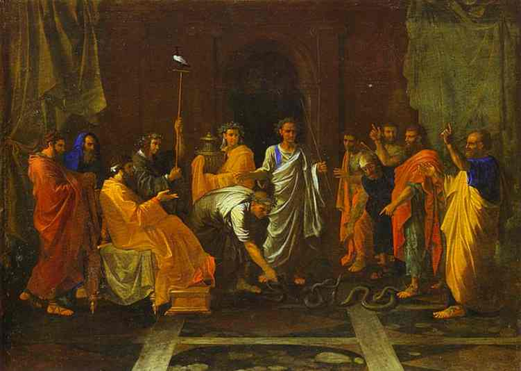 Moses Turning the Staff into a Serpent - Nicolas Poussin