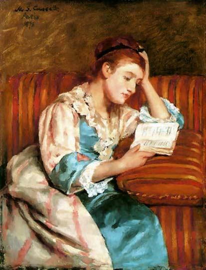 Mrs. Duffee Reading on Striped Sofa - Mary Cassatt