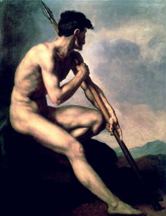 Nude Warrior with a Spear - Theodore Gericault