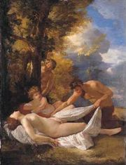 Nymph and Satyrs - Nicolas Poussin