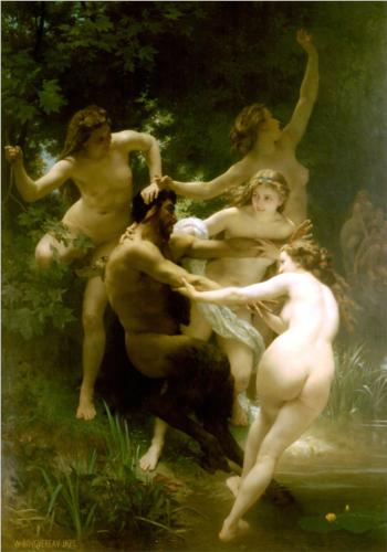 Nymphs and Satyr - William Adolphe Bouguereau