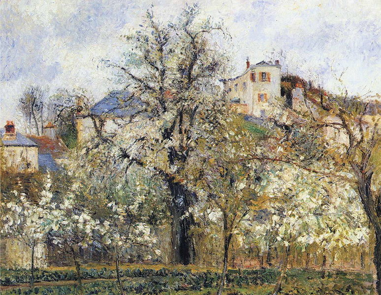Orchards of Flowering Fruit Trees - Camille Pissarro