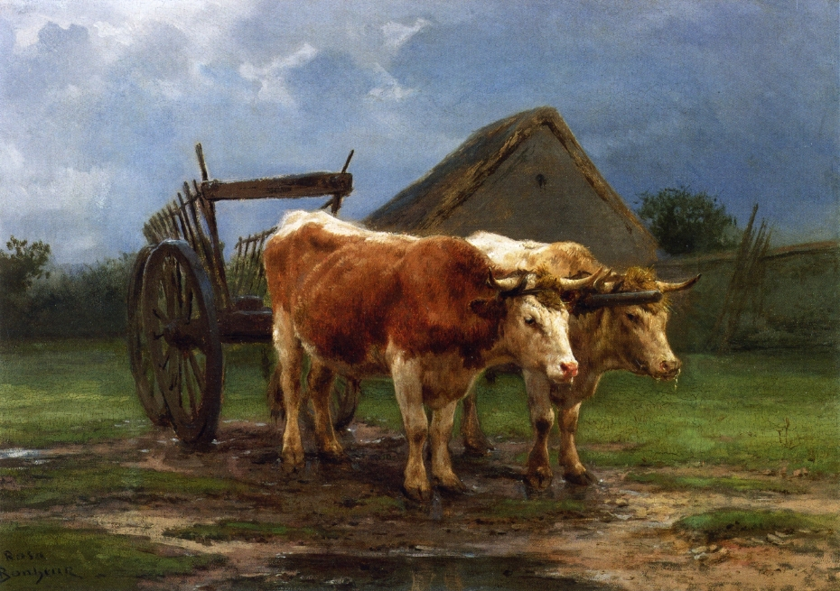 Cow Pulling Wagon : Horses cows gallery oil painting reproductions and print