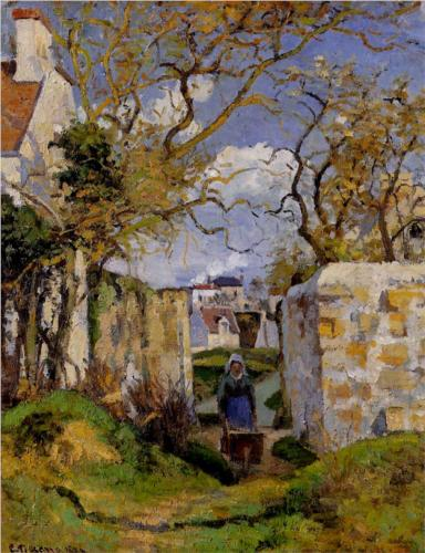 Peasant Pushing a Wheelbarrow - Camille Pissarro
