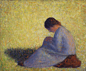 Peasant Woman Sitting in Grass - Georges Seurat