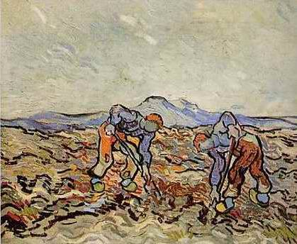 Peasants Digging Potatoes - Vincent van Gogh