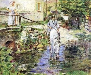 Pere Trognon and His Daughter at the Bridge - Theodore Robinson