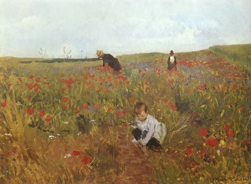 Picking Flowers in a Field - Mary Cassatt