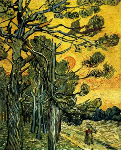 Pine Trees against a Red Sky with Setting Sun - Vincent Van Gogh