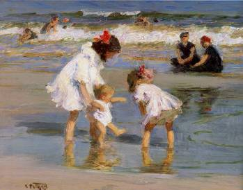Playing at the Seashore - Edward Henry Potthast