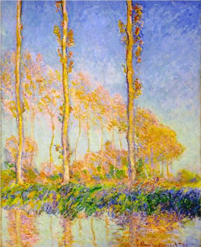 Poplars, Autumn, Pink Effect - Claude Monet
