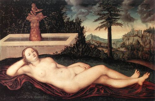 Reclining River Nymph at the Fountain - Lucas Cranach