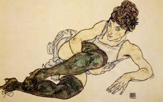 Reclining Woman with Green Stockings - Egon Schiele