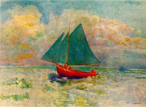 Red Boat with Blue Sails - Odilon Redon